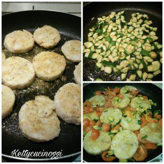 Medaglioni di merluzzo con pomodorini e zucchine