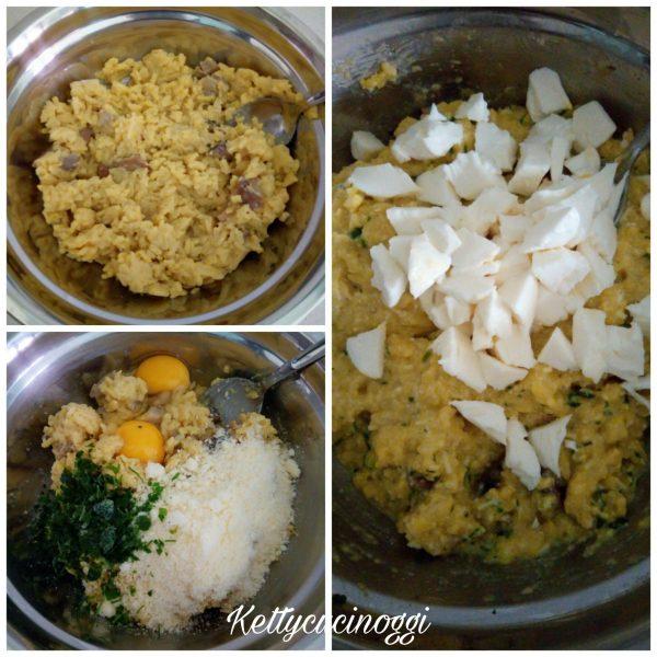 Ho preparato i <i><b>Supplì di riso</b></i> per prima cosa sgraniamo bene il riso già pronto, poi mettiamo le uova il formaggio grattugiato il prezzemolo e un po' di pepe, mescoliamo bene  l'impasto deve risultare sodo e compatto, per ultimo aggiungiamo la mozzarella fiordilatte.