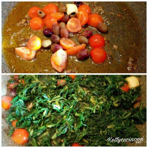 In una padella antiaderente mettiamo l'olio di oliva i filetti di acciuga tagliuzzati il peperoncino e lo spicchio di aglio schiacciato. Lasciamo soffriggere bene il tutto, una volta che l'acciuga si sia sciolta e l'aglio è diventato dorato lo togliamo e lo buttiamo; aggiungiamo i pomodorini tagliati a spicchio e le olive lasciamo insaporire il tutto, quindi per ultimo mettiamo gli <b>agretti</b> e aggiungiamo la tazzina del brodo di cottura. Facciamo cuocere ancora 5 minuti a fuoco moderato girando un paio di volte il tutto.