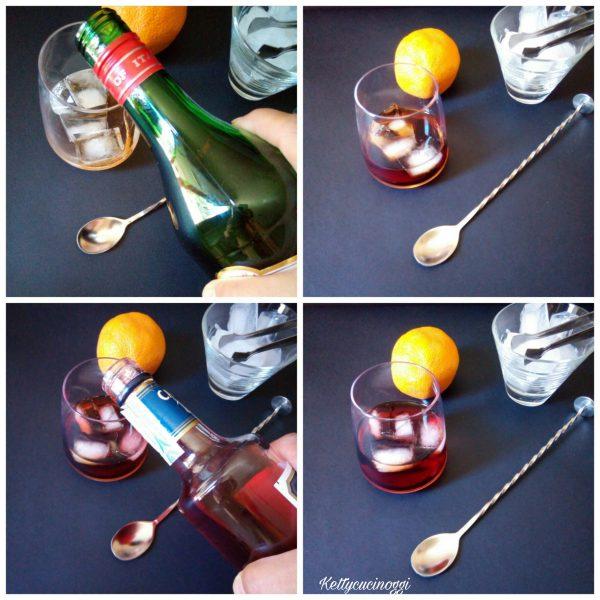 Il <i><b>Cocktail Negroni sbagliato</b></i> è un cocktail facilissimo da preparare,  dobbiamo per prima cosa mettere cubetti di ghiaccio nel tumbler, mettiamo il Martini rosso, il Bitter Campari.