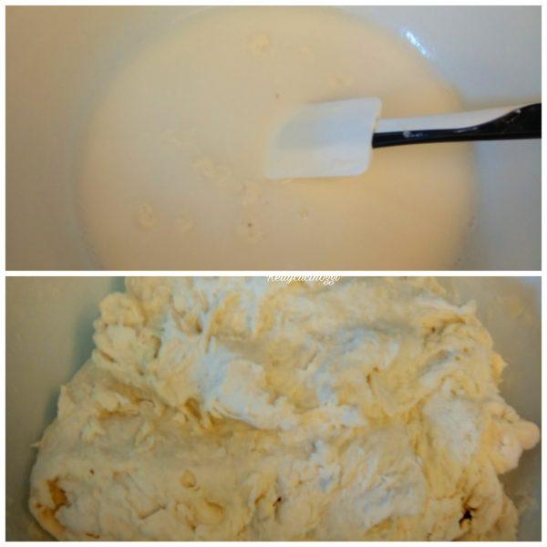 Aggiungere le farine setacciata a pioggia, uniamo la restante acqua e impastiamo per 7 minuti con l'aiuto di una forchetta o lecca pentola.
