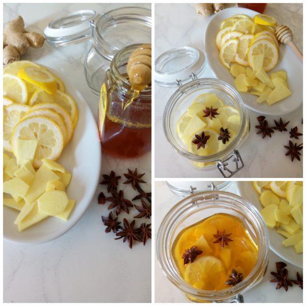 Prendiamo un vasetto da 50 ml e assembliamo lo <i><b>Sciroppo antinfluenzale </b></: alla base mettiamo le fette di limone, lo zenzero e l'anice stellato, quindi versiamo un po' di miele.