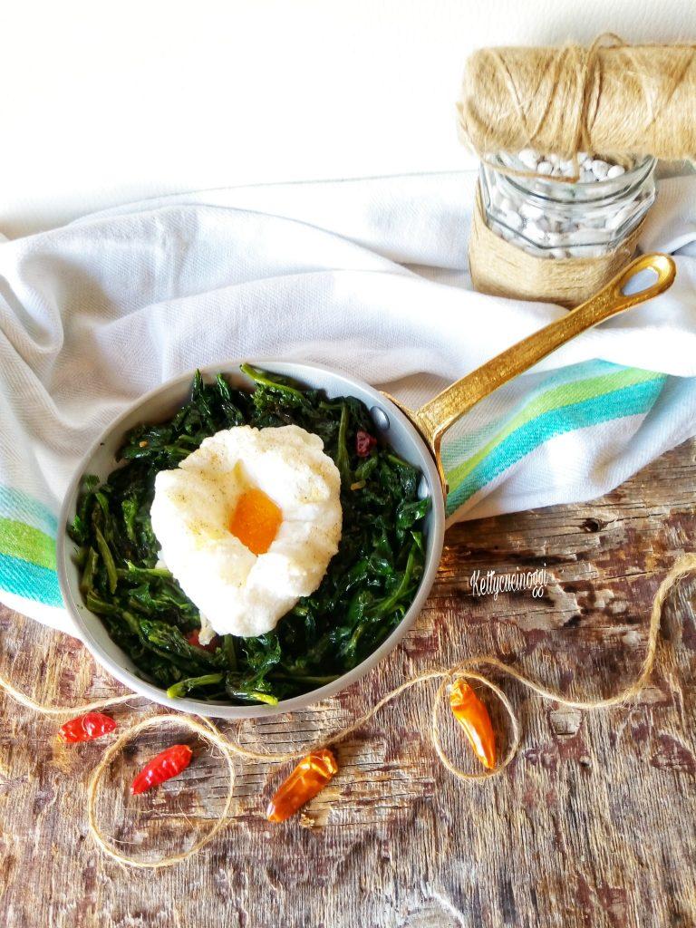 Cima di rapa con uovo al forno
