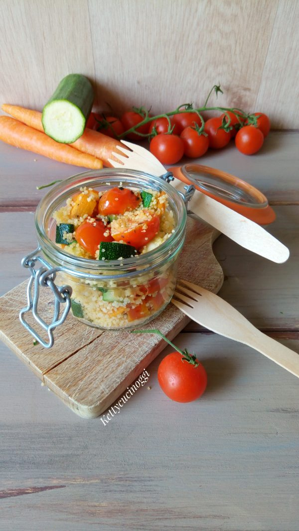 Ecco qui il nostro  <i><b>Couscous alle verdure saltate</b> fresche </b></i> pronto per essere portato a tavola.
