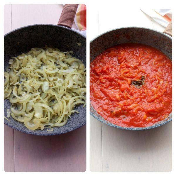 Una volta pronte versiamo il pomodoro saliamo pepiamo e lasciamo cuocere sino a quando non si restringe bene.