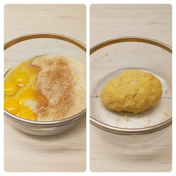 Per preparare i <i><b> passatelli  ricetta romagnola </b></i> mettere tutti gli ingredienti secchi dentro una ciotola, aggiungiamo il limone grattugiato le uova e la noce moscata.
