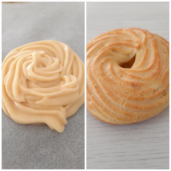 Una volta pronte le  <i><b>zeppole al forno con crema pasticcera e amarena</b></i> le mettiamo su una gratella per lasciarle raffreddare.