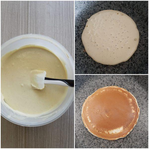 In una padella antiaderente  ben calda versiamo 2/3 cucchiai di pastella.
