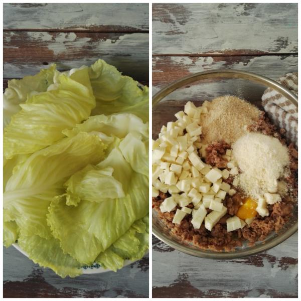 In una ciotola mettiamo la  carne, il parmigiano, il pane grattato  e la <b>scamorza</b> tagliata a dadini.