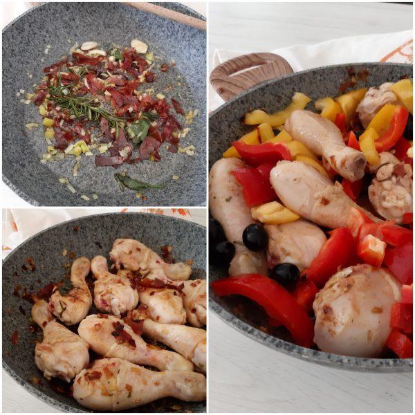 Mettiamo i peperoni  le olive, saliamo e copriamo con coperchio .