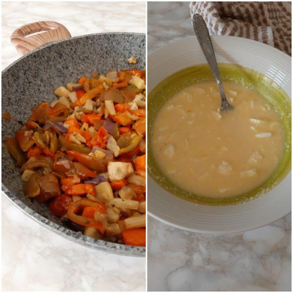 In una ciotola intanto sbattiamo le uova, aggiungiamo il formaggio grattugiato, il latte  e per ultimo la <b>feta</b> asciugata e sbriciolata.