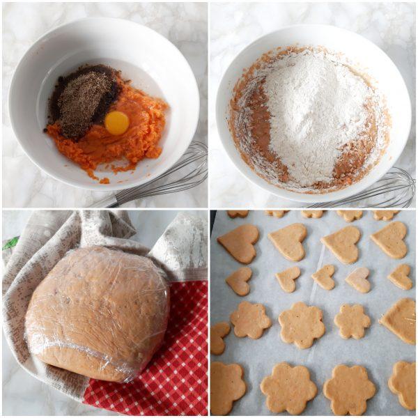 Stendiamo su un piano infarinato l'impasto formiamo i <b>biscotti</b> e li disponiamo su una placca rivestita con della carta da forno.