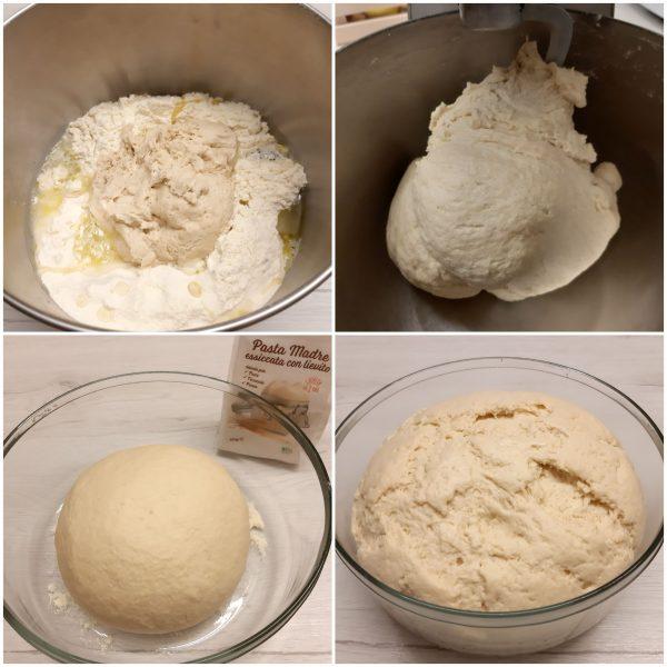 Poniamo il pane in una ciotola capiente, copriamo con pellicola e mettiamo a lievitare nuovamente sino al raddoppio.