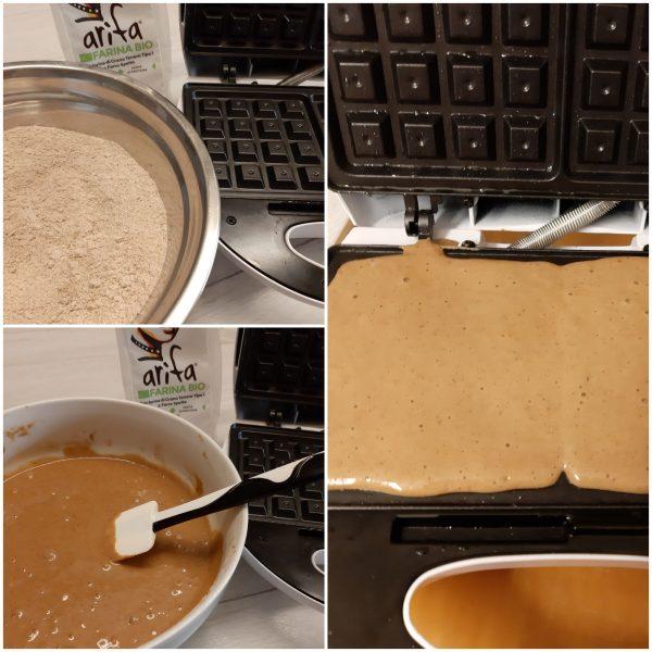 Ungiamo la piastra dei <b>waffle</b> con dell'olio aiutandoci con un pennello, versiamo un mestolino di impasto circa 50 g.