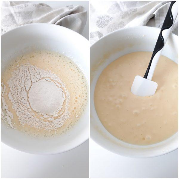 Aggiungiamo la farina e il lievito setacciati, mescoliamo bene sino ad ottenere un impasto liscio e omogeneo.