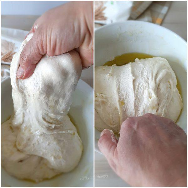 Con le mani pulite e unte con lo stesso olio , afferriamo bene l'impasto e iniziamo a sollevarlo, stirandolo e lo ripiegandolo.