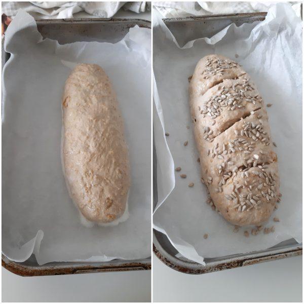 Una volta raddoppiato con l'aiuto di una lametta incidiamo il pane, bagniamo leggermente la superficie con l'acqua e aggiungiamo i semi di girasole.