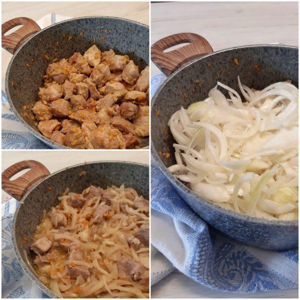Aggiungiamo le cipolle copriamo e lasciamo cuocere lentamente per tre ore, mescolando di tanto in tanto.