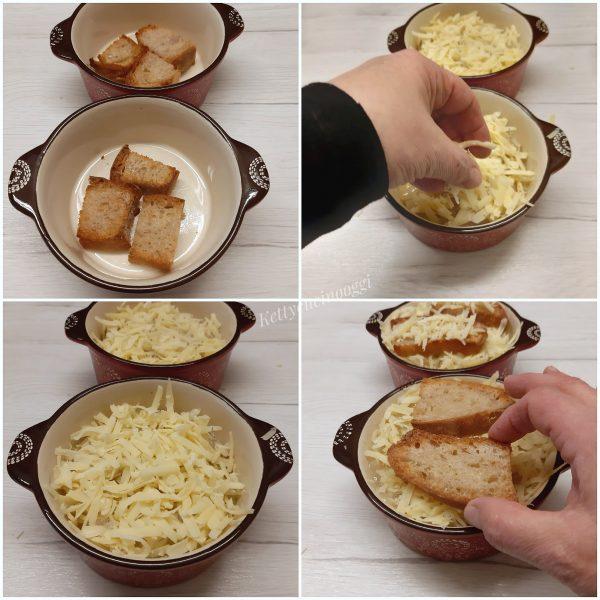 Quindi versiamo la zuppa , aggiungiamo un paio di fette di pane e terminiamo il tutto con l'altra metà del gruviera.
