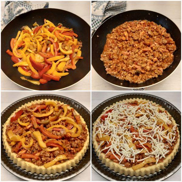 Farciamo con il sugo di salsiccia, i peperoni   cospargiamo con il parmigiano,  infine concludiamo con la scamorza grattugiata.